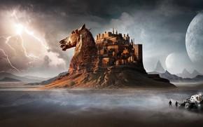 Wallpaper horse, the storm, castle, people, desert, car, mountains, lightning, horse, head