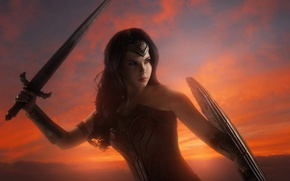 Picture cinema, sword, Wonder Woman, armor, sky, movie, ken, blade, cosplay, brunette, film, shield, warrior, DC …
