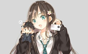 Picture girl, toy, badge