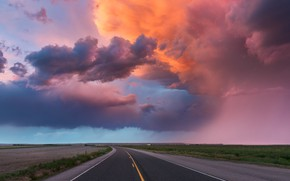 Picture road, the sky, clouds, light, clouds, rain