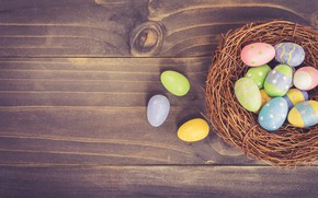 Picture Easter, Eggs, socket, Holiday, wooden background