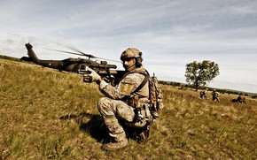 Picture soldiers, helicopter, equipment
