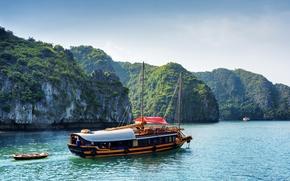 Picture greens, rocks, boat, Bay, yacht, boat, Bay, Vietnam, Halong Bay