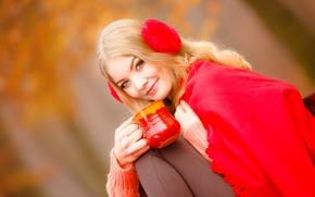 Picture look, girl, smile, background, makeup, headphones, hairstyle, blonde, mug, in red, bokeh