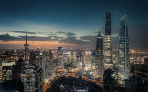 Picture the city, lights, the evening, China, Shanghai, China