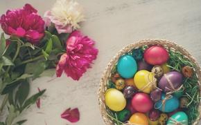 Picture flowers, eggs, Easter, peonies, eggs