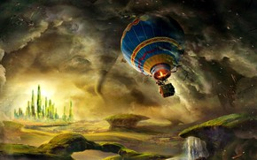 Wallpaper balloon, James Franco, tower, the wreckage, Oz The Great And Powerful, tornado, hope, flight, adventure, ...