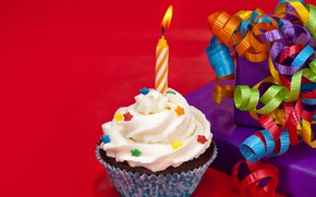 Picture candle, cake, bow, cake, cream, Happy Birthday, pink, sweet, cupcake, cupcake, cream, dessert, Birthday