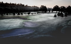 Picture field, fog, morning, Golf