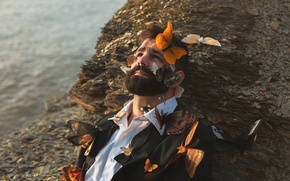 Picture butterfly, male, beard, chemise, remnants of you