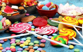 Picture candy, lollipops, sweet, pills, marmalade, marshmallow