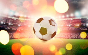 Picture field, lights, glare, background, football, sport, the game, the ball, tribune, stadium, bokeh