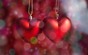 Picture hearts, red, love, romantic, hearts, bokeh, Valentine's Day