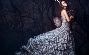 Picture girl, trees, pose, style, mood, dress, horns, Bella Kotak