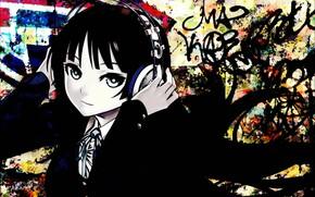 Picture look, girl, headphones, K-On!, Cajon!