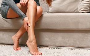 Picture legs, model, sofa, female