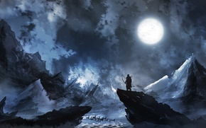 Wallpaper Archer, deer, people, the moon, winter, ice, North, cold