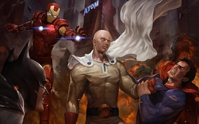 Picture Batman, anime, iron man, One-Punch Man, Saitama, Superman