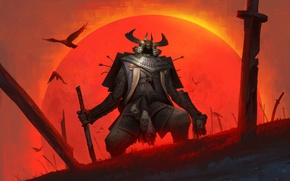 Wallpaper the sun, birds, sword, head, warrior, armor, samurai