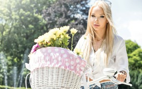 Picture the sun, trees, flowers, bike, basket, jeans, makeup, glasses, hairstyle, blonde, blouse, white, beauty, bokeh