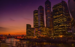 Picture sunset, Moscow, Moscow-City, The Moscow river