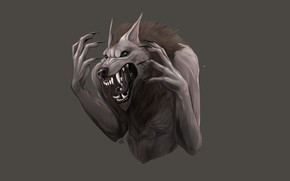 Picture eyes, face, fear, monster, mouth, mane, claws, fangs, ears, werewolf