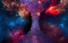 Wallpaper space, stars, blue, yellow, nebula, red, bright, reflection, dirty, grey, pink, blue, black, dark, light, ...