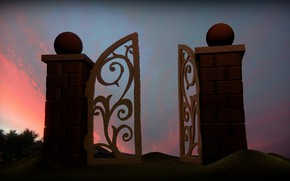 Picture sunset, the evening, rust, ruin, Blender3d, wicket