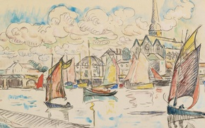 Picture the city, figure, watercolor, sail, Paul Signac, Boats in the Port