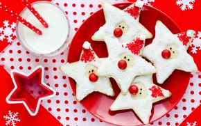 Picture stars, decoration, snowflakes, New Year, cookies, Christmas, Christmas, Merry Christmas, Xmas, glaze, milk, cookies, decoration, …
