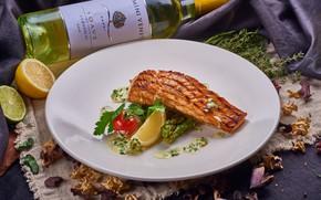 Picture wine, lemon, fish, vegetables, salmon