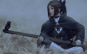 Picture stay, the gun, bird, cloak, grey background, art, military uniform, the girl-soldier, Guweiz