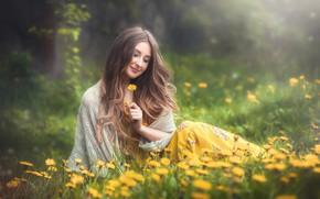 Picture girl, flowers, smile, mood, hair, dandelions, Oksana, Vadim Miller