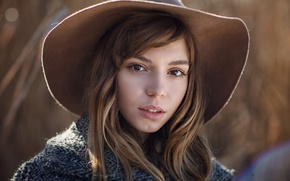 Picture look, girl, the sun, face, portrait, hat, makeup, hairstyle, brown hair, coat, bokeh