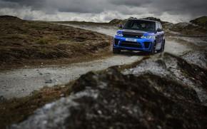 Wallpaper blue, SUV, hills, vegetation, overcast, four-door, Land Rover, road, Range Rover, SVR, clouds