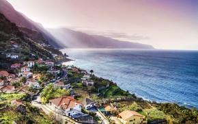 Picture sea, the sky, mountains, rocks, coast, home, horizon, Portugal, Madeira