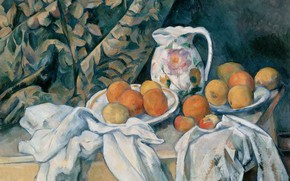 Picture picture, pitcher, fruit, Paul Cezanne, Paul Cezanne, Still life with Curtain