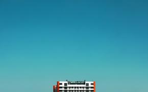 Picture the sky, blue, the building, minimalism, gradient, beautiful, orange, blue sky