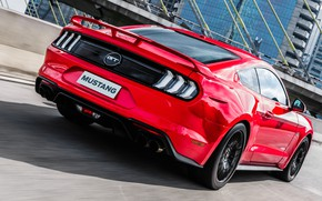 Picture red, speed, Ford, rear view, Fastback, 2018, Mustang GT