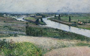 Picture landscape, river, picture, Gustave Caillebotte, Gustave Caillebotte, The Seine at Epinay