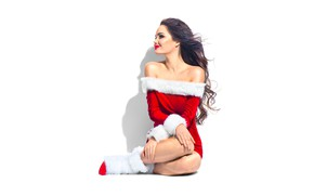 Picture pose, smile, holiday, new year, Christmas, shadow, makeup, dress, brunette, hairstyle, white background, maiden, fur, …