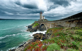 Picture shore, lighthouse, France, Brittany, Finistere