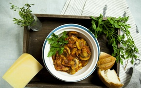 Picture Mushrooms, Dish, fried chicken, Bread, Mushrooms, roast chicken, Parsley