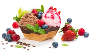 Picture leaves, berries, raspberry, chocolate, blueberries, strawberry, ice cream, mint, dessert, sweet, chocolate, sweets, ice cream