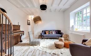 Picture design, interior, piano, living room, Home in Paris