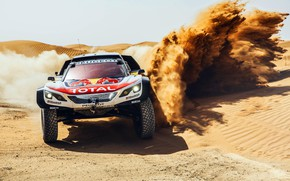 Wallpaper Sand, Sport, Speed, Race, Skid, Peugeot, Lights, Red Bull, Rally, Rally, Sport, The front, RedBull, ...