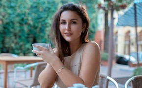 Picture makeup, dress, hairstyle, Cup, brown hair, beauty, sitting, bokeh, at the table