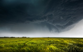 Wallpaper field, the sky, clouds, nature, the wind, lightning