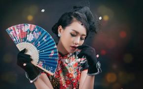 Picture girl, fan, Asian