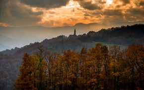 Picture sunset, fog, Italy, Emilia Romagna, Morfasso, Autumn Sunday